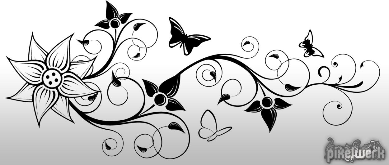 wandtattoo floral ornament 07 schmetterling blumen ranke pflanze wandaufkleber ebay. Black Bedroom Furniture Sets. Home Design Ideas